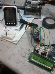 Prototyping the LCD screen and outputting the temp from sensor to the screen.