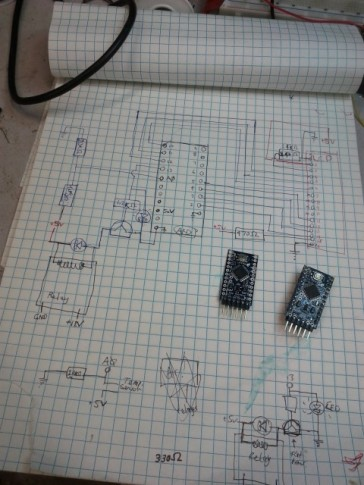 Mapping out the circuit for the Arduino controller.
