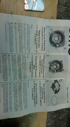 Instruction sheet that came with the impeller replacement kit.