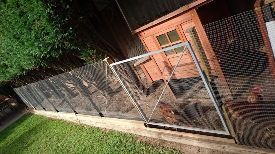 The gate is used when cleaning out the coop. All doors and gates have magnet latches.